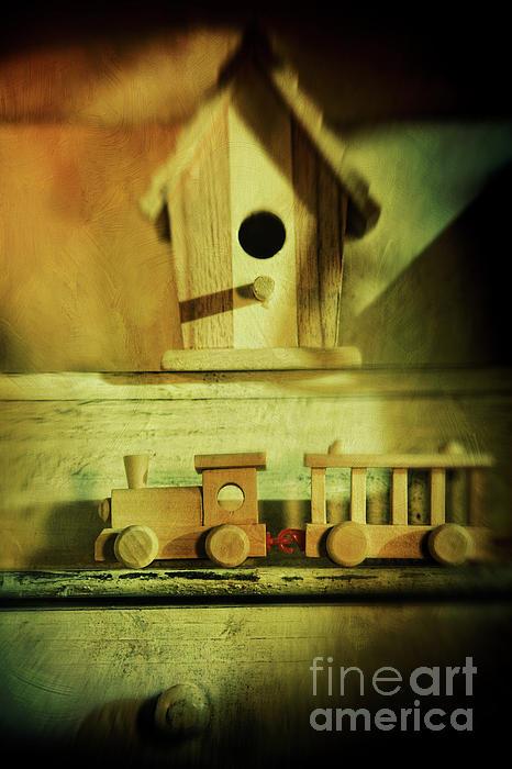 Little Wooden Train On Shelf Print by Sandra Cunningham