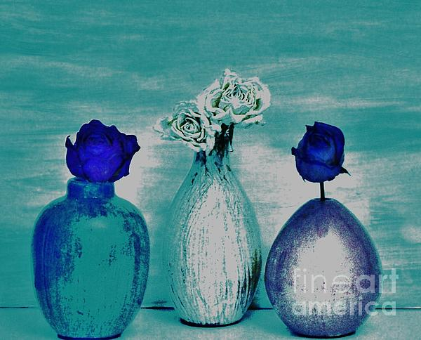 Littlle Vases Dried Roses Print by Marsha Heiken