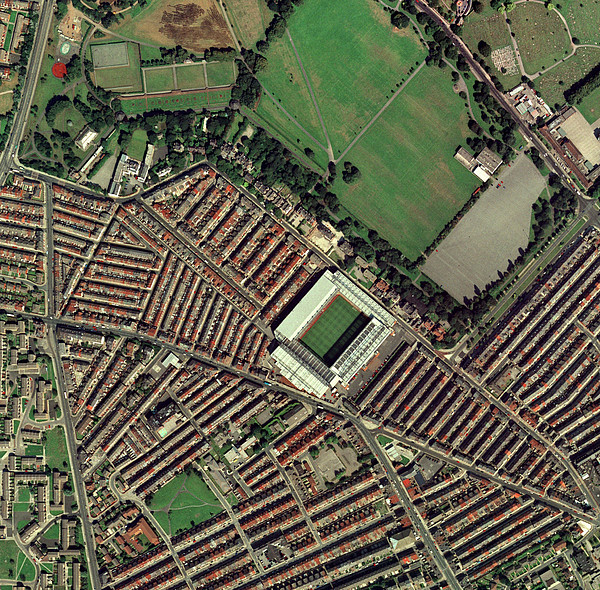 Liverpool's Anfield Stadium, Aerial View Print by Getmapping Plc
