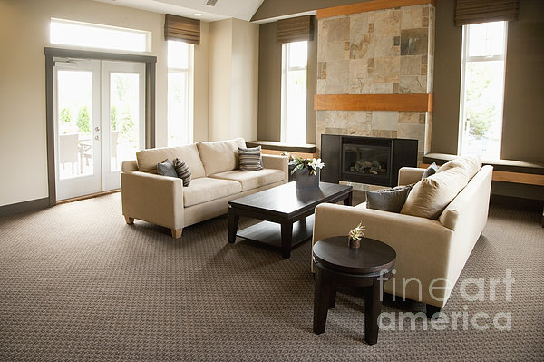 Living Room In An Upscale Home Print by Shannon Fagan