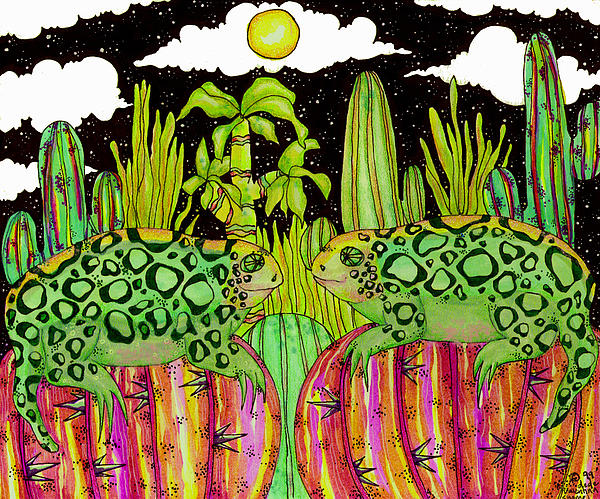 Lizards In Love Print by Dede Shamel Davalos