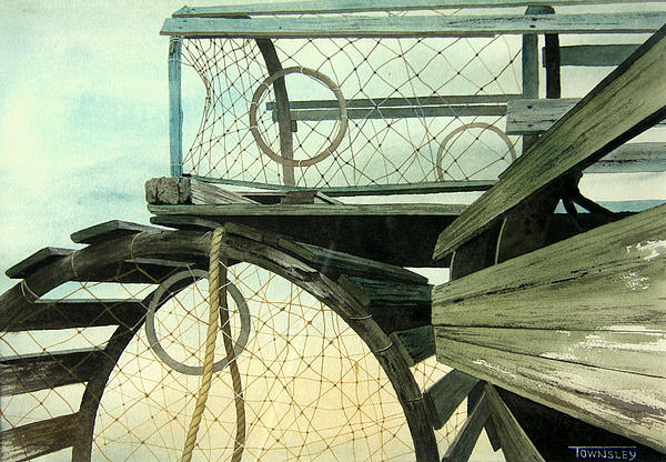 Lobster Traps Print by Frank Townsley