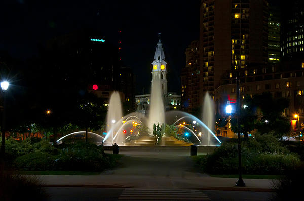 Logan Circle Fountain With City Hall At Night Print by Bill Cannon