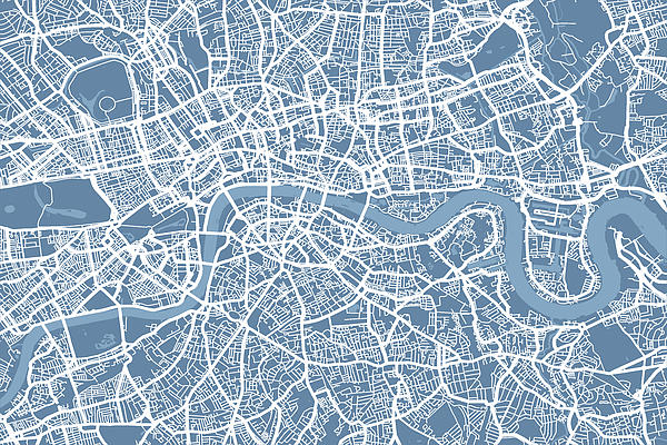 London Map Art Steel Blue Print by Michael Tompsett