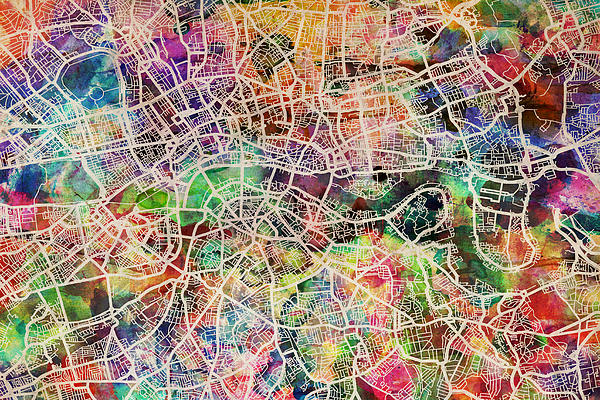 London Map Art Watercolor Print by Michael Tompsett