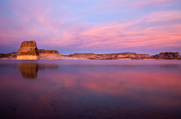 Lone Rock Sunset Print by Mike  Dawson