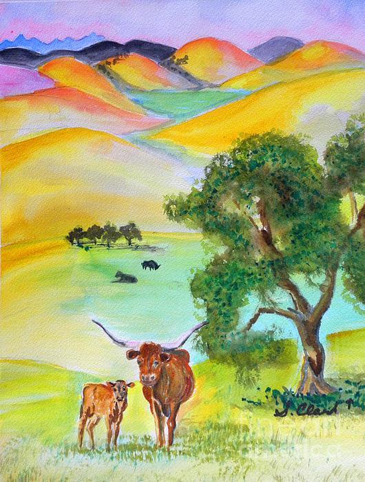 Longhorn Sunrise Print by Susan  Clark