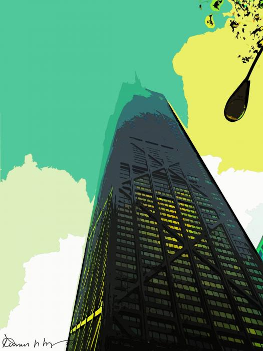 Look Up Chicago Print by Russ Harris