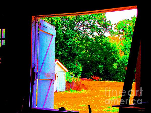 Looking Out The Barn Door Print by Annie Zeno