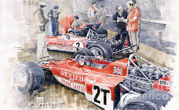 Lotus 49 B Lotus 72 Print by Yuriy  Shevchuk