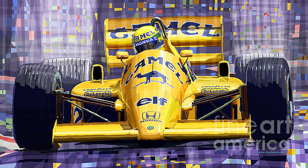 Lotus 99t Spa 1987 Ayrton Senna Print by Yuriy  Shevchuk