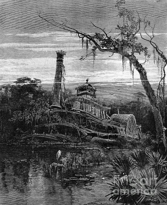 Louisiana: Steamboat Wreck Print by Granger