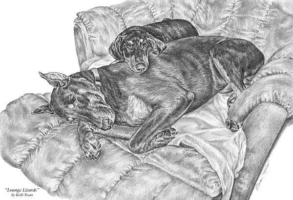 Lounge Lizards - Doberman Pinscher Dog Art Print Print by Kelli Swan