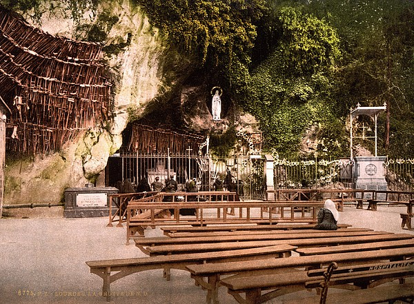 Lourdes, France, The Grotto Of Notre Print by Everett