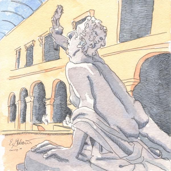 Louvre Sculpture Hall Print by E Gibbons