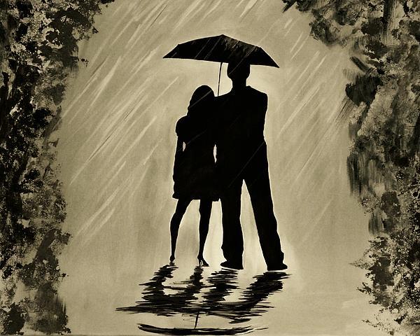 Love In The Rain D Print by Leslie Allen
