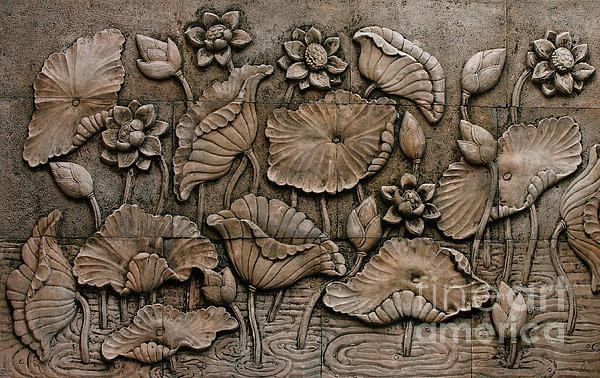 Low relief cement thai style greeting card for sale by