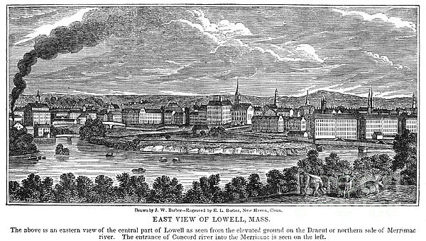 Lowell: Factories, 1844 Print by Granger