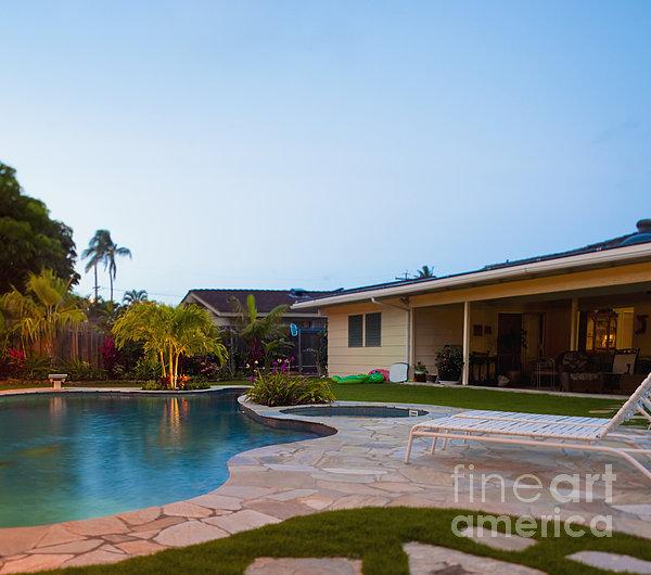 Luxury Backyard Pool And Lanai Print by Inti St. Clair