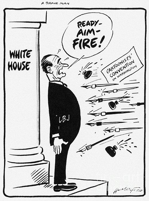 Lyndon B. Johnson: Cartoon Print by Granger