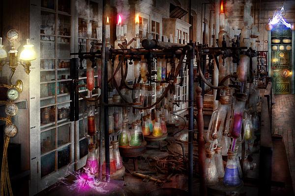 Mad Scientist - Essence Of Life Machine Print by Mike Savad
