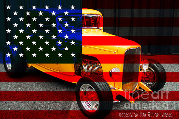 Made In The Usa . 1932 Ford 5 Window Coupe Print by Wingsdomain Art and Photography
