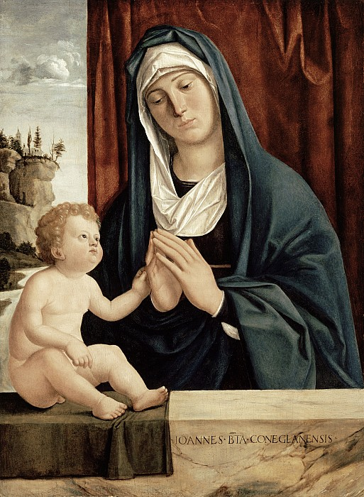 Madonna And Child - Late 15th To Early 16th Century  Print by Giovanni Battista Cima da Conegliano