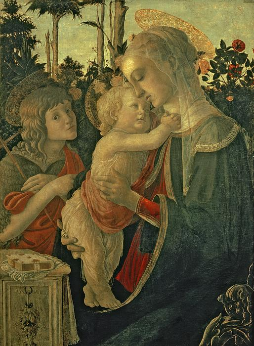 Madonna And Child With St. John The Baptist Print by Sandro Botticelli