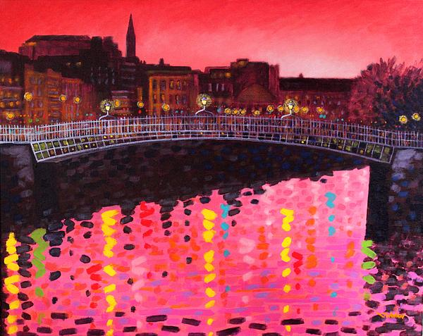 Magenta Evening Dublin Print by John  Nolan