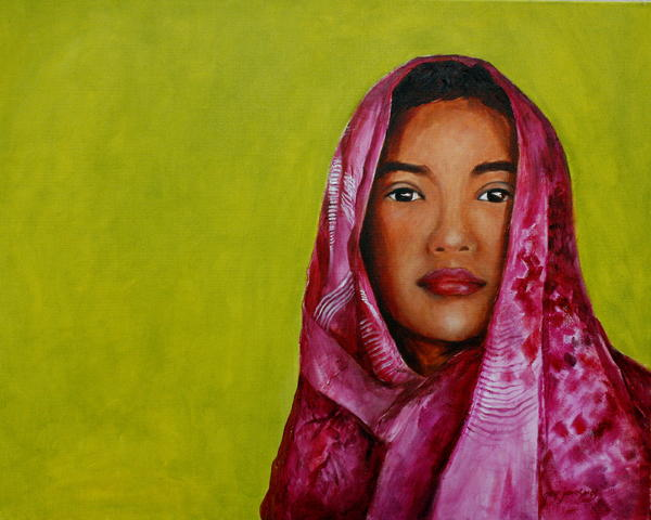 Magenta Girl Print by Jun Jamosmos