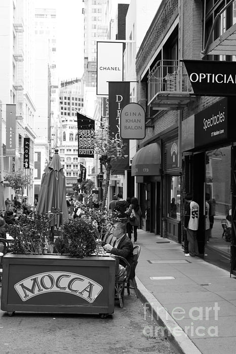 Maiden Lane San Francisco California - 5d19376 - Black And White Print by Wingsdomain Art and Photography