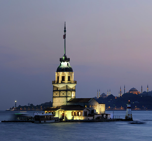 Maiden's Tower  At Sunset Print by Ayhan Altun