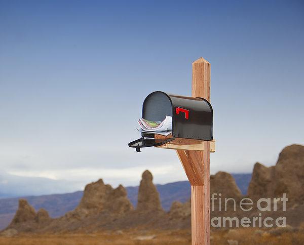 Mailbox In Desert Print by David Buffington