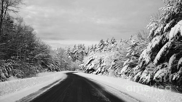 Maine Winter Backroad - One Lane Bridge Print by Christy Bruna