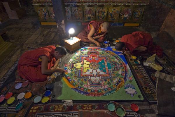 Making Of Mandala Print by Hitendra SINKAR