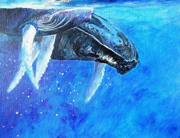 Mama And Baby Whale Print by Tamara Tavernier