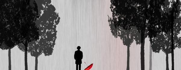 Man In Rain Print by Jim Kuhlmann