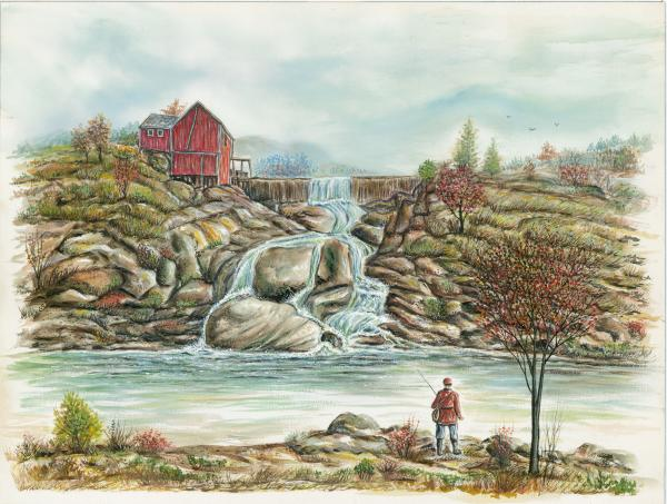 Man In Red Fishing By A Waterfall Print by Samuel Showman