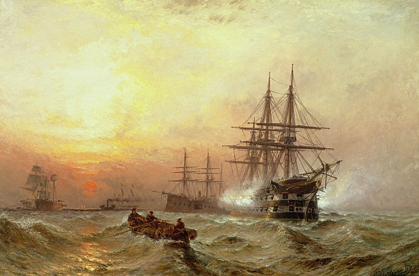 Man-o-war Firing A Salute At Sunset Print by Claude T Stanfield Moore