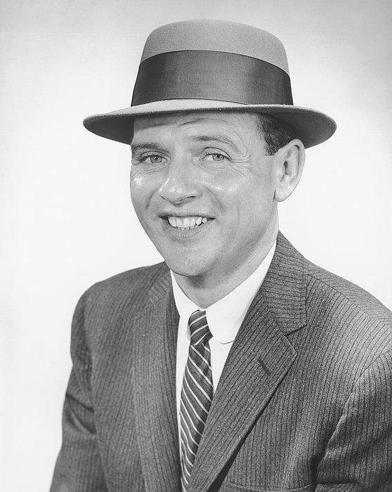 Man Wearing Hat, Posing In Studio, (b&w), Portrait Print by George Marks