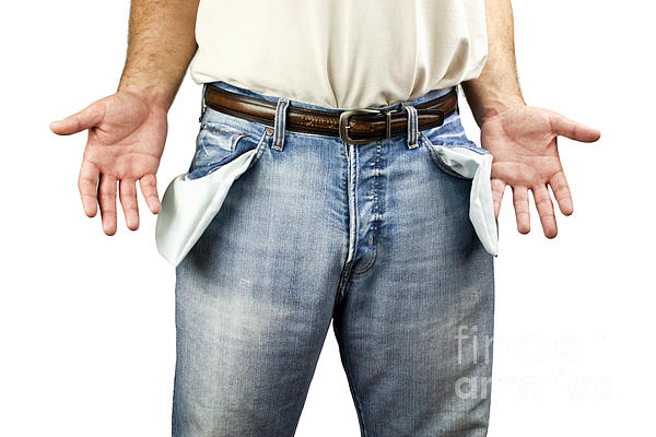 Man With Empty Pockets Print by Blink Images