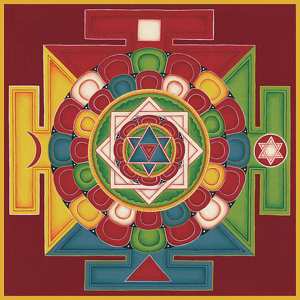 Mandala Of The 5 Elements Earth-water-fire-air-space Painting  - Mandala Of The 5 Elements Earth-water-fire-air-space Fine Art Print