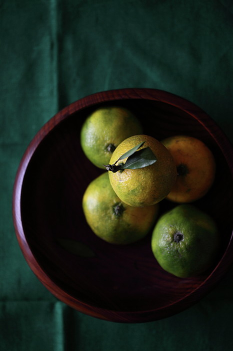 Mandarin Orange In Wooden Bowl Print by © Miss Snail All right reserved