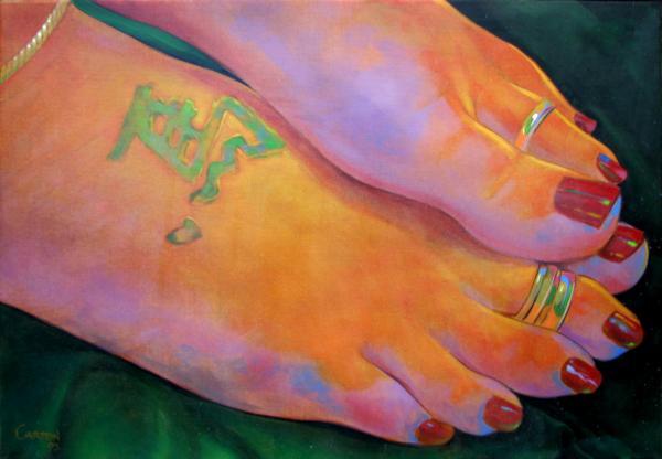 Mandy Toes Orange Print by Jerrold Carton