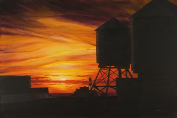 Manhattan Sunset Print by Christopher Oakley