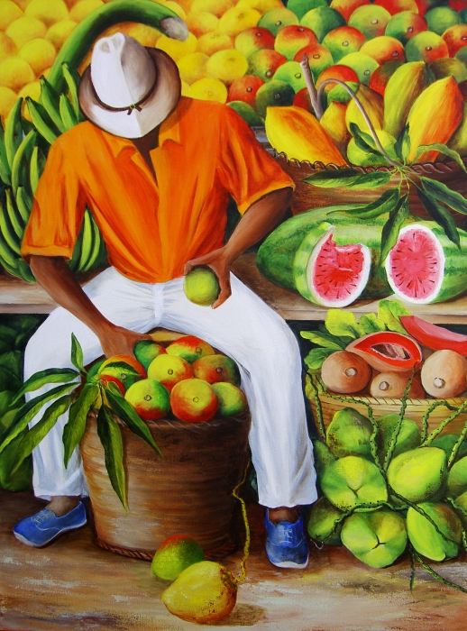 Manuel The Caribbean Fruit Vendor  Print by Dominica Alcantara