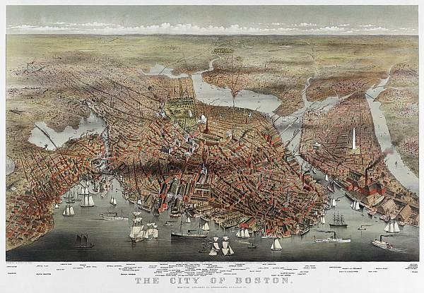 Map: Boston, C1873 Print by Granger