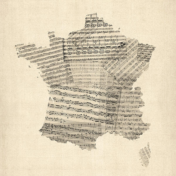 Map Of France Old Sheet Music Map Print by Michael Tompsett