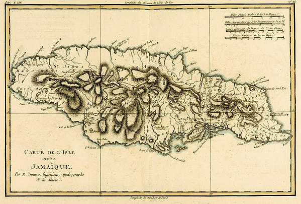 Map Of Jamaica Print by Guillaume Raynal
