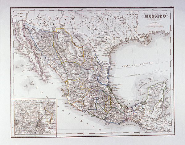 Map Of Mexico And Outlines Of Mexico City Print by Fototeca Storica Nazionale